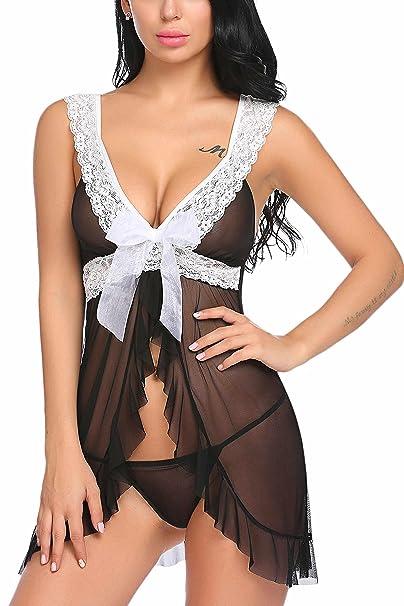 8242d7019b Modfine Mujer Sexy Pijamas Encaje con Tanga Pijamas Transparente   Amazon.es  Ropa y accesorios