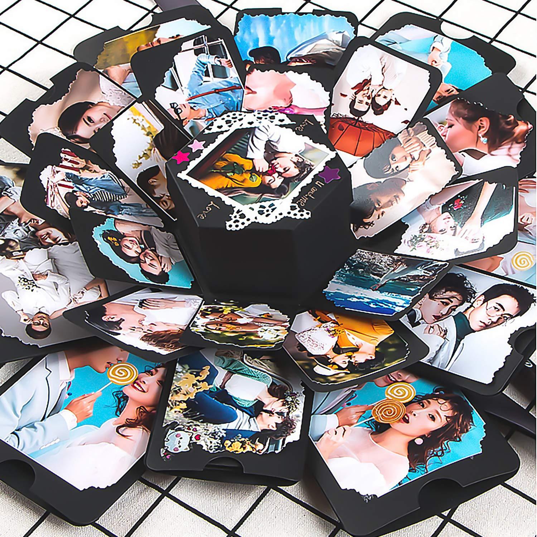 Goseare Scatola Esplosiva Explosion Gift Box Esplosione per Album di Foto DIY 5 Strati con Set di Strumenti per Amore Confessione Matrimonio Compleanno Anniversario Regalo di San Valentino