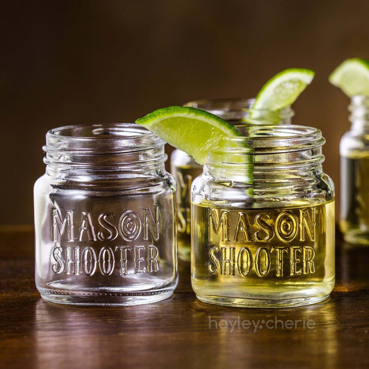 Set of 8 Hayley Cherie Mason Jar Shot Glasses with Lids 2 Ounces HayleyCherie Mini Mason Shooter Glass