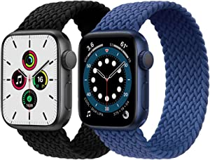 2-Pack Solo Loop Strap Compatible with Apple Watch Band 42mm 44mm,No Clasps No Buckles Stretchable Braided Sport Elastics Replacement Wristband for iWatch Series 6/5/4/3/2/1,SE,Black&Blue,8#