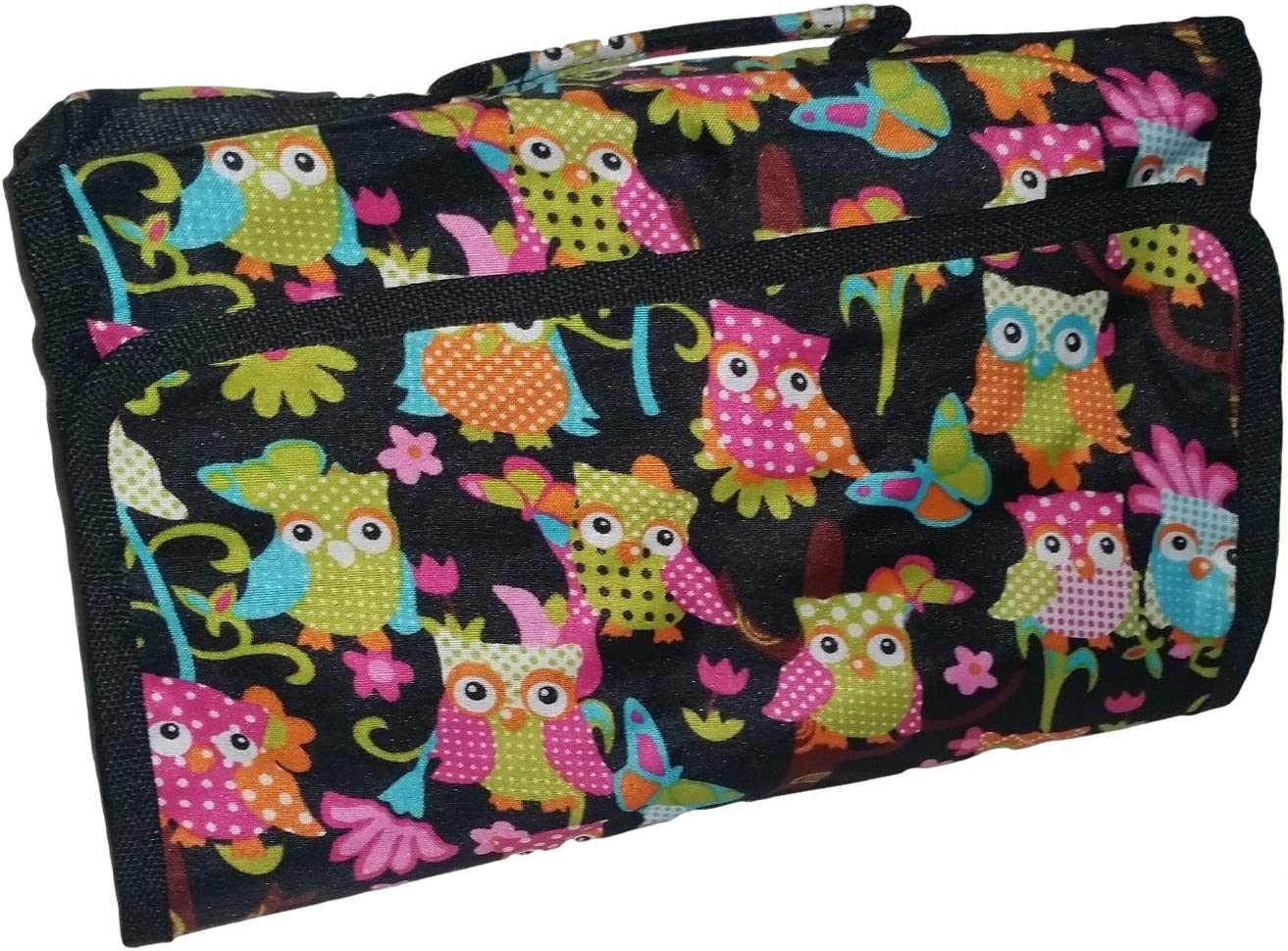Large Hanging Toiletry Cosmetic Organizer Bag – Roll up for Storage and Travel Multi-Colored Owl