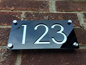 Modern House Numbers, Aluminium Effect with Black Acrylic - Contemporary Home Address - Sign Plaque - Door Number