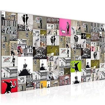 Bilder Collage Banksy Street Art Wandbild Vlies Leinwand Bild Xxl