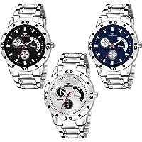 BEARDO Quartz Movement Analogue Display Multicoloured Dial Men's Watch(ARMBLK~27GREY~27SMILY) - Pack of 3