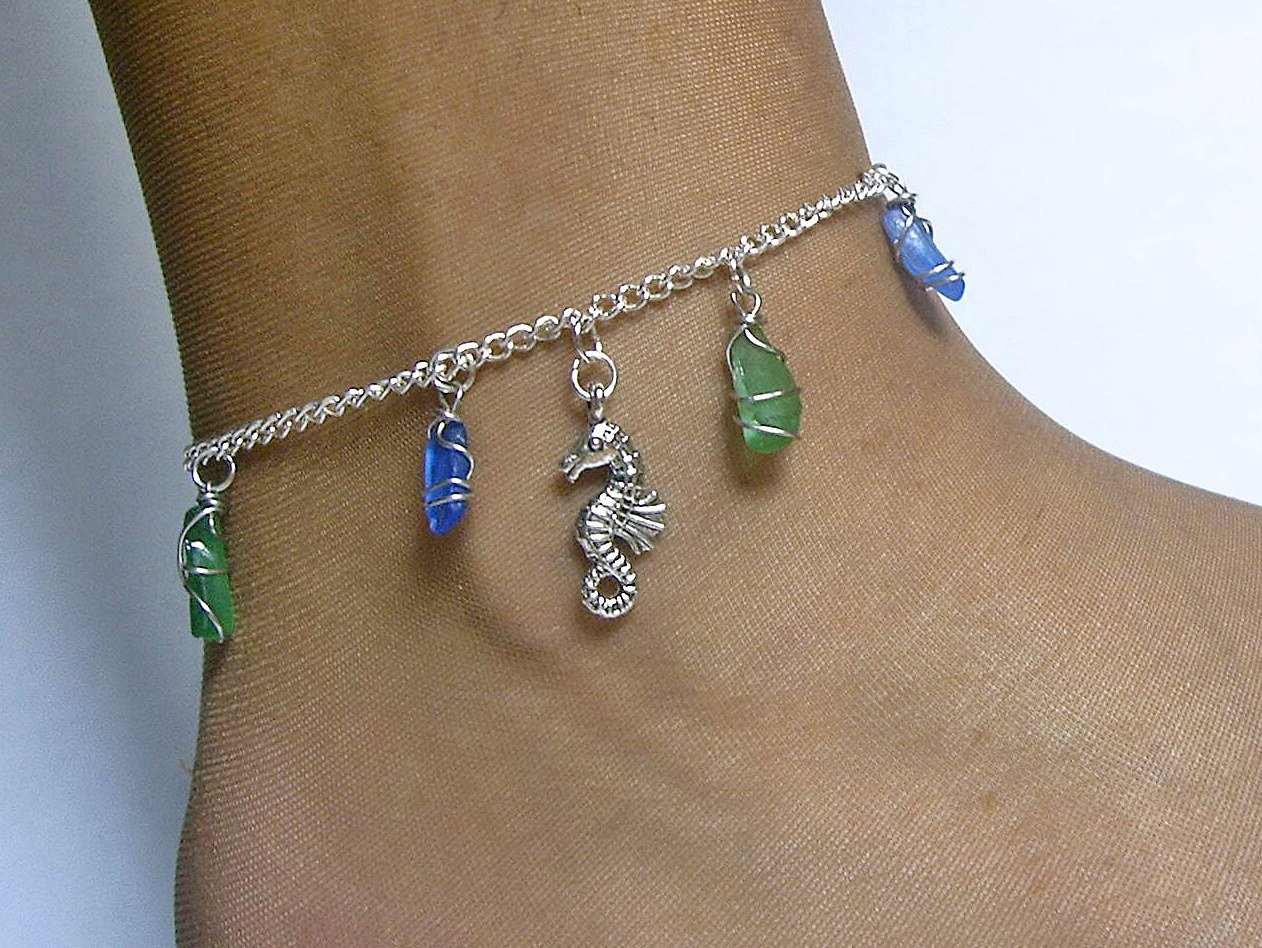 Seahorse anklet with green and blue sea glass