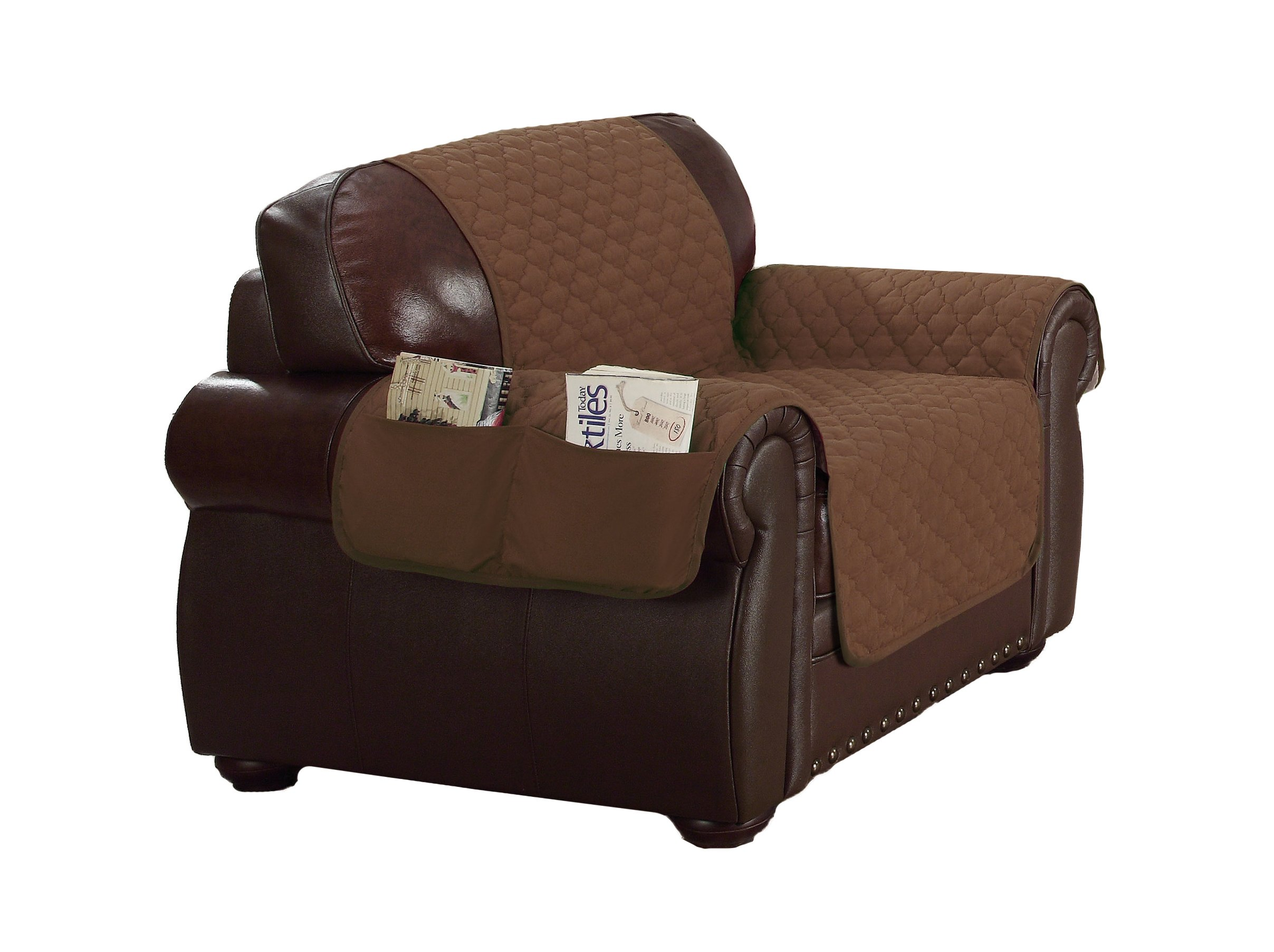 QUICK FIT -  Reynold Durable Quality Reversible Water Resistant Couch Cover for Dogs, Kids, Pets - Sofa Slipcover For Couch, Recliner, Loveseat or Chair , (CHAIR SIZE - BROWN & BEIGE)