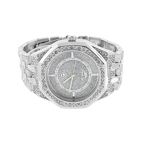 Blanco Iced Out Reloj para hombre simulado diamodns Custom Octagon cara AP-01: Amazon.es: Relojes