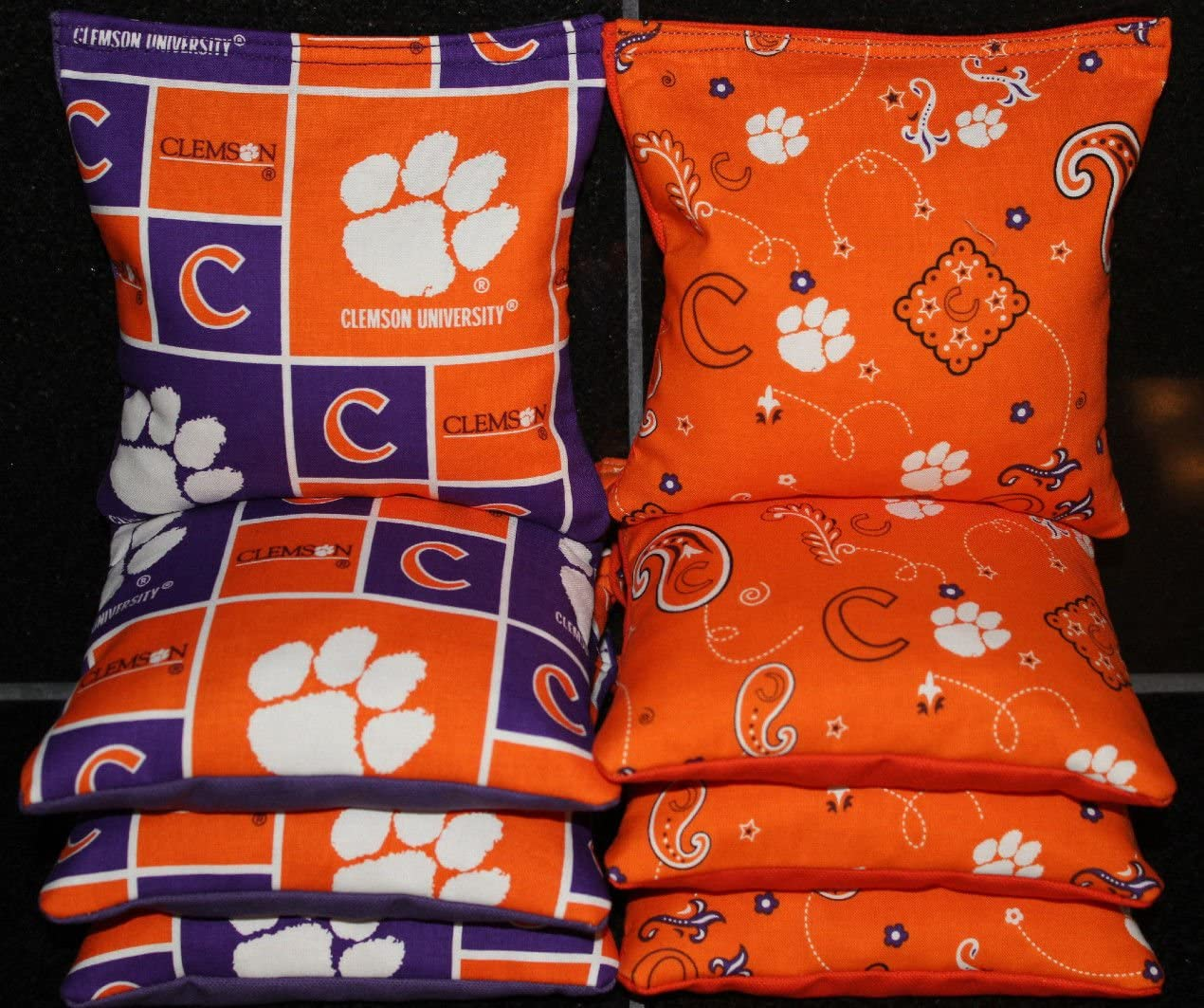 TOP QUALITY 4 CORNHOLE BEANBAGS made w CLEMSON TIGERS Fabric ACA Reg Bags