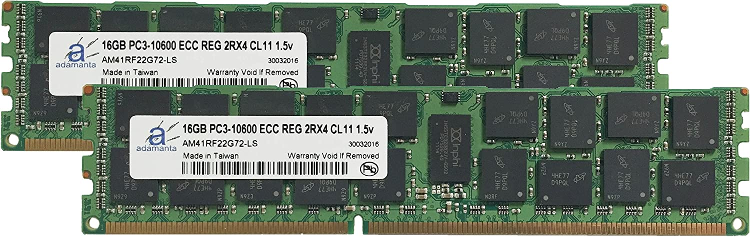 Adamanta 32GB Server Memory Upgrade for Dell Precision T7500 DDR3 1333Mhz PC3-10600 ECC Registered 2Rx4 CL9 1.5v 2x16GB
