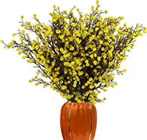 LUCKY SNAIL Artificial Flowers, 5 PCS Babys Breath Artificial Flowers Bulk Artificial Gypsophila Bouquets Real Touch Fake Flowers for Wedding Home Party Office Table Centerpiece Decor (Yellow)