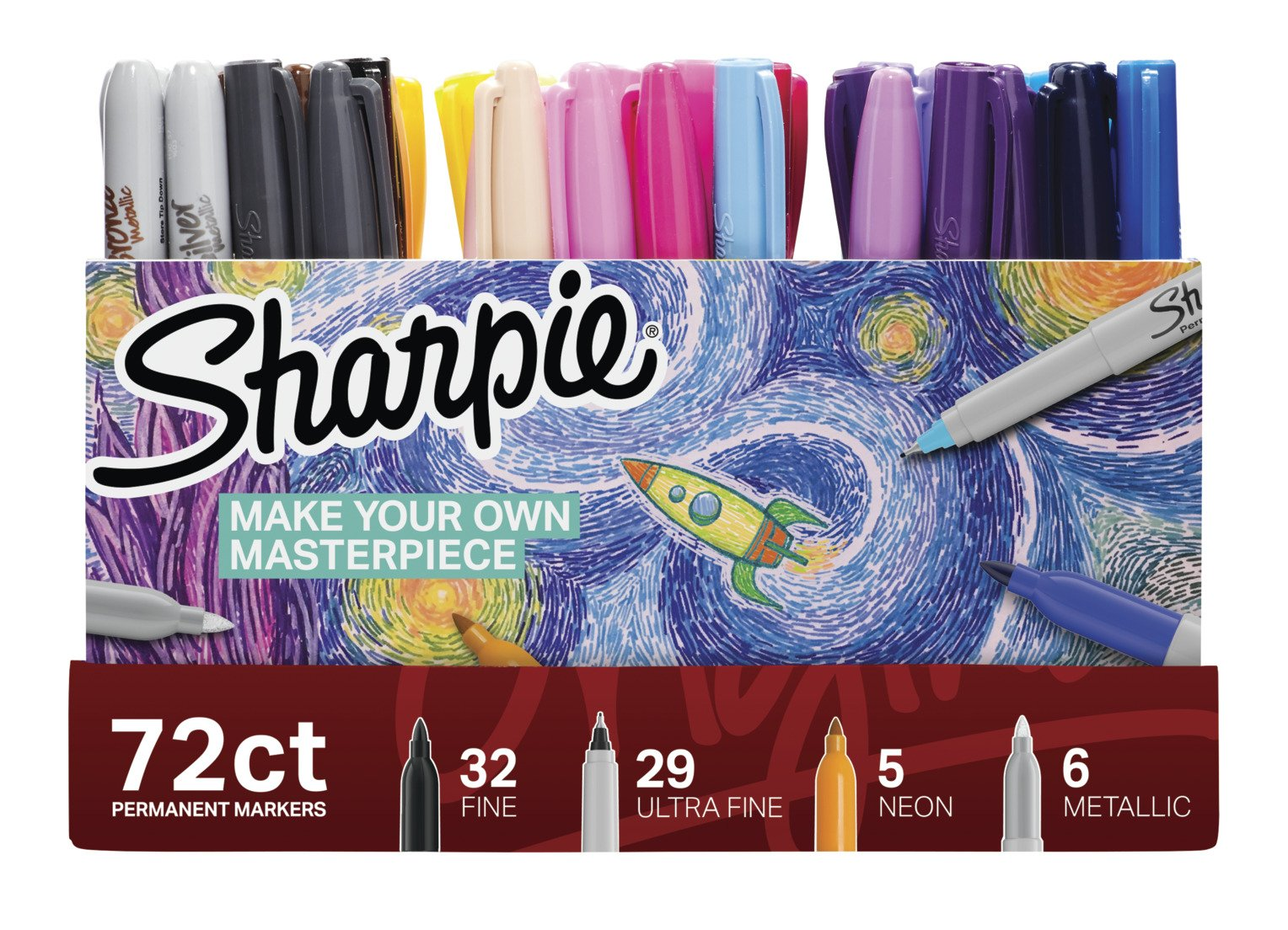 Sharpie Permanent Markers Ultimate Collection, Fine and Ultra Fine Points, Assorted Colors, 72 Count by Sharpie (Image #7)