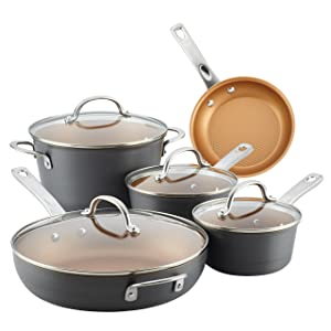 Ayesha Curry Kitchenware 80085 Hard Anodized Aluminum 9 Piece Cookware Set, Gray