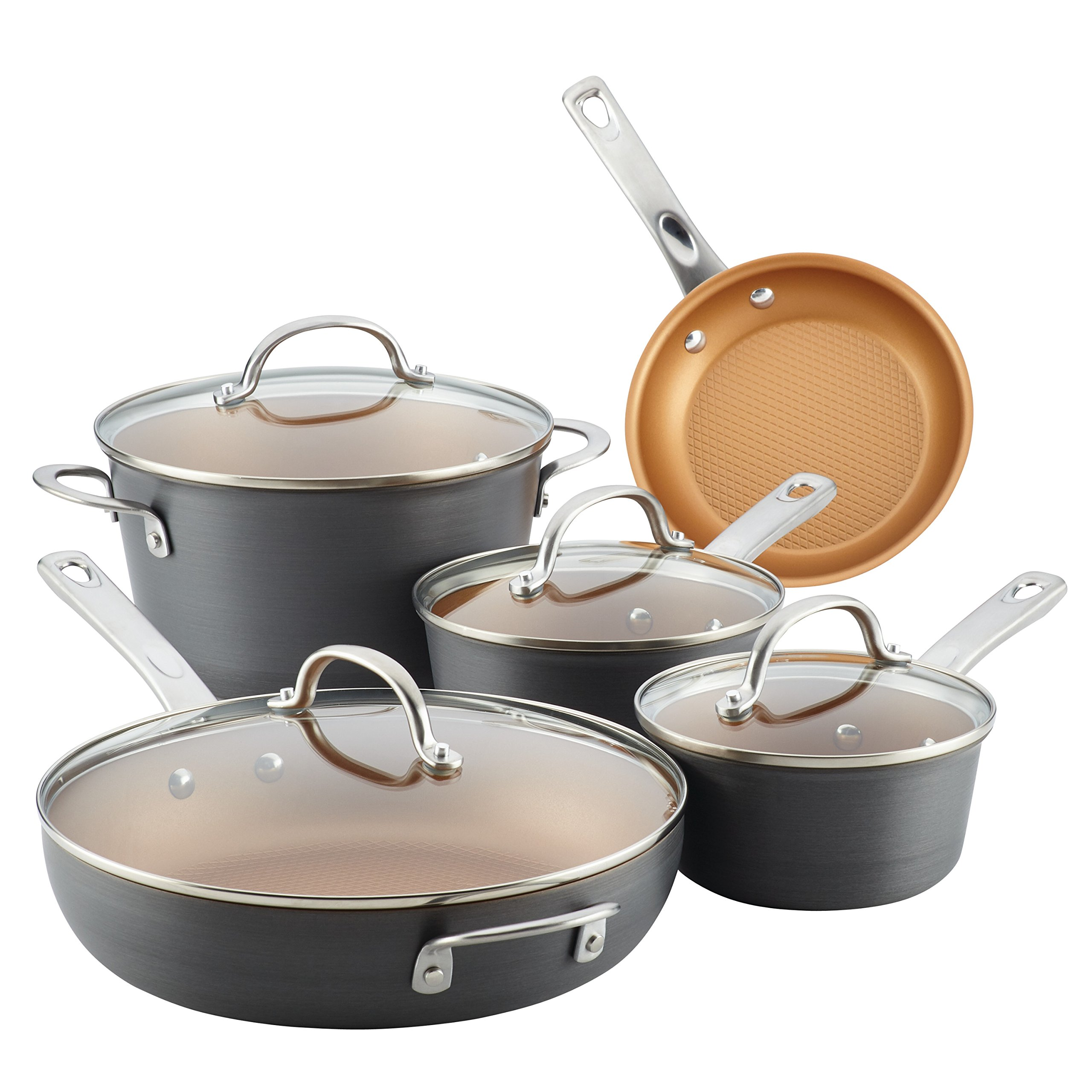 Ayesha Curry Home Collection Hard Anodized Aluminum Cookware Set, 9-Piece