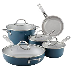 Ayesha Home Collection Porcelain Enamel Nonstick Cookware Set, Twilight Teal, 9-Piece