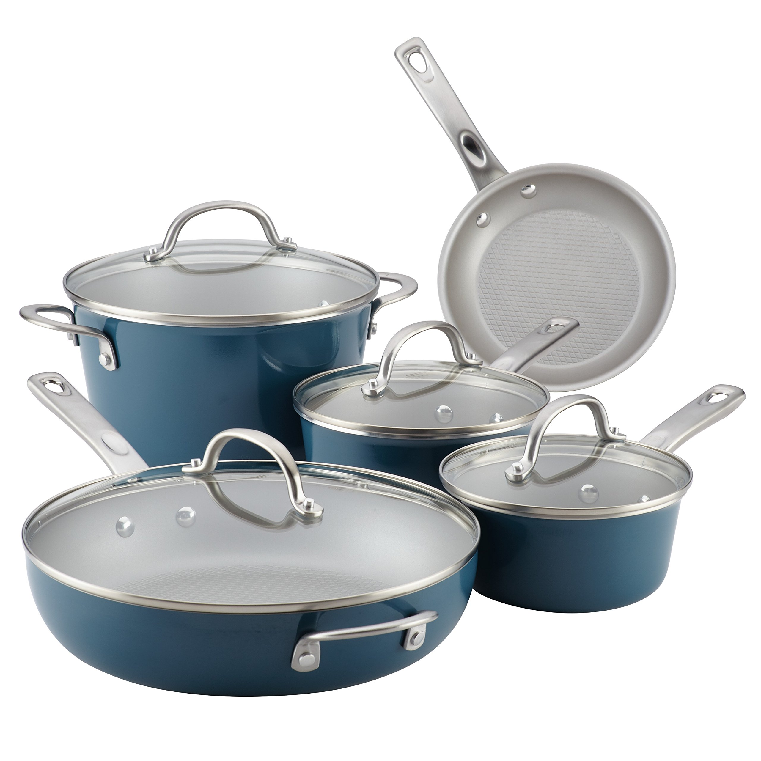 Ayesha Curry Home Collection Porcelain Enamel Nonstick Cookware Set, Twilight Teal, 9-Piece