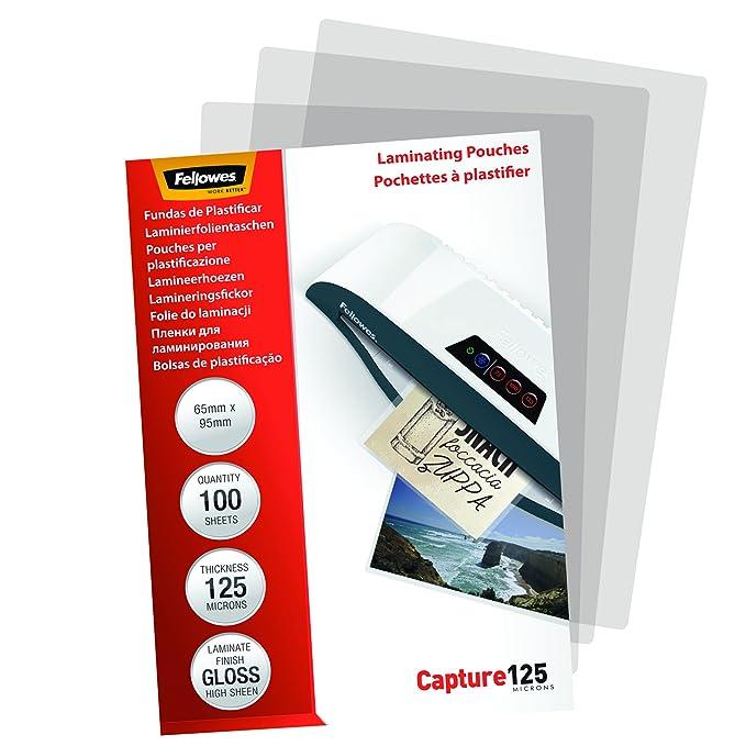 Amazon.com: Fellowes plastificar 65 x 95 mm 250 micras 53067 ...