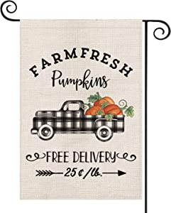 AVOIN Fall Farm Fresh Buffalo Check Plaid Truck Pumpkins Garden Flag Vertical Double Sized, Arrow Autumn Thanksgiving Yard Outdoor Decoration 12.5 x 18 Inch