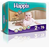 Happix Day & Night Use Diaper, Small Pack of 76 Diapers