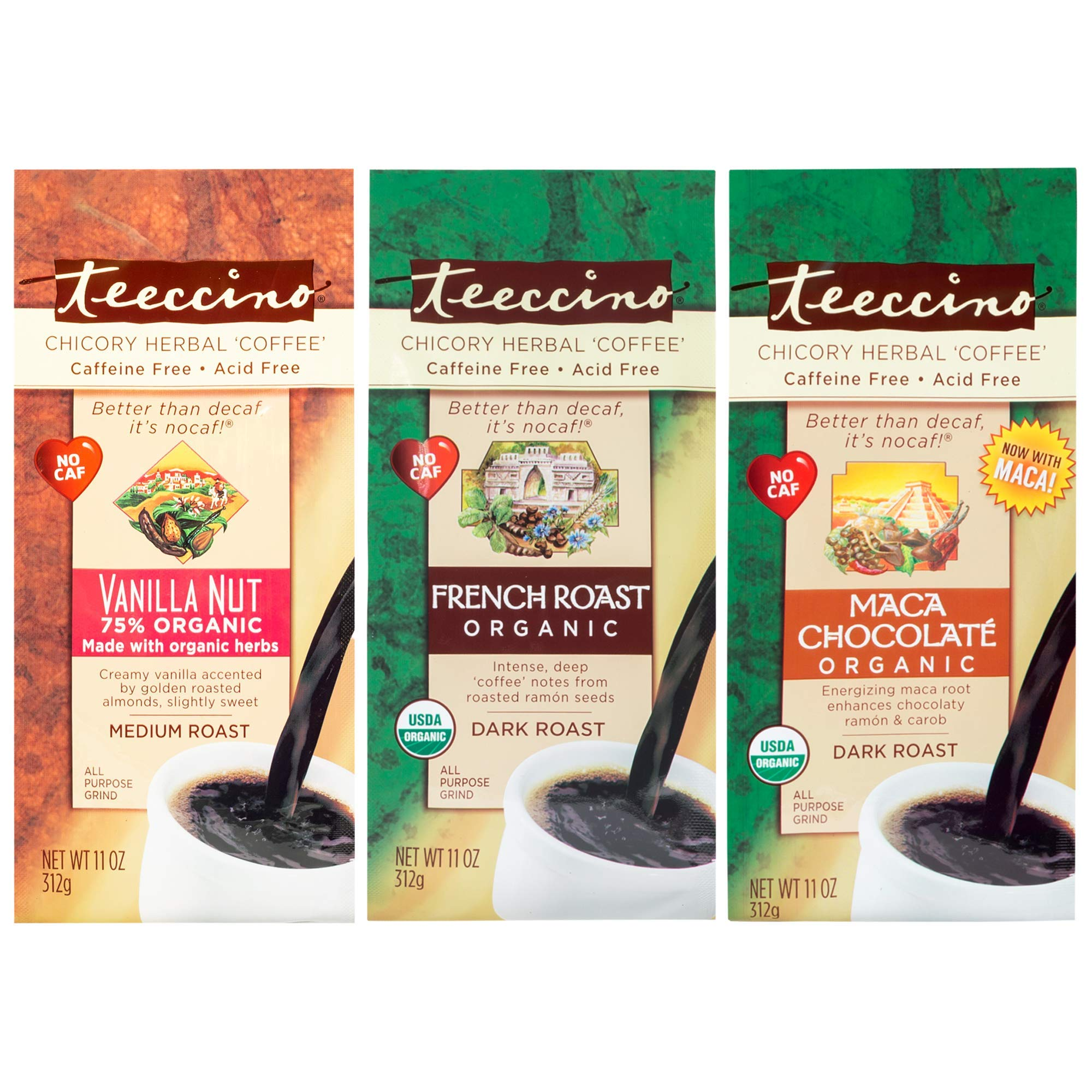 Teeccino Chicory Herbal Coffee Variety Pack (Vanilla Nut, French Roast, Maca Chocolaté), Caffeine Free, Acid Free, Coffee Alternative, Prebiotic, 11 Ounce (Pack of 3)