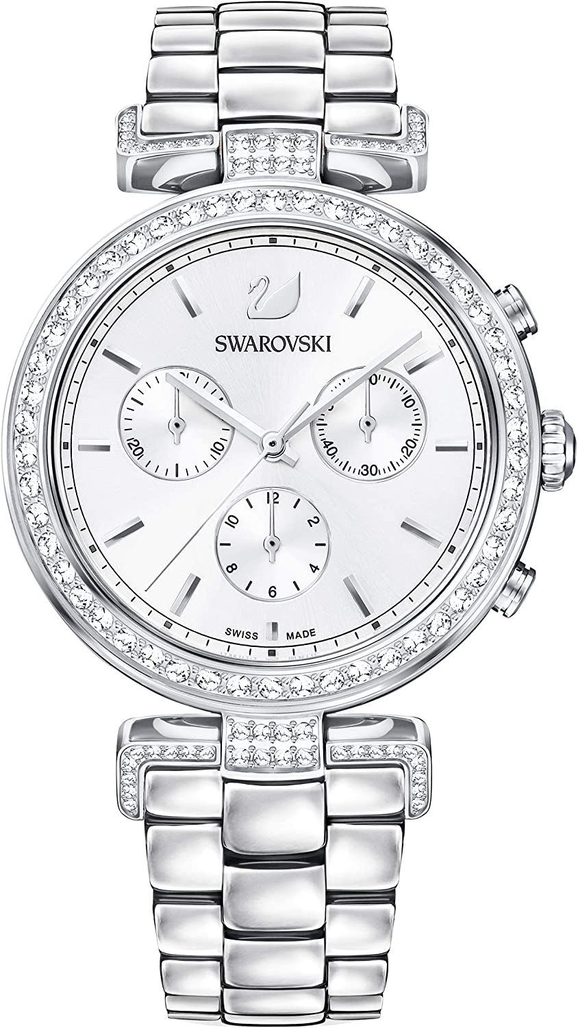 Swarovski Reloj Era Journey, Brazalete de metal, Blanco, Acero inoxidable