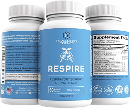 Lung Cleanse and Detox & Lung Support Supplement - Respire - Natural Allergy Relief & Respiratory Decongestants for Adults - Asthma & Sinus Relief - Clear Lungs to Breathe Right, 60 Capsules