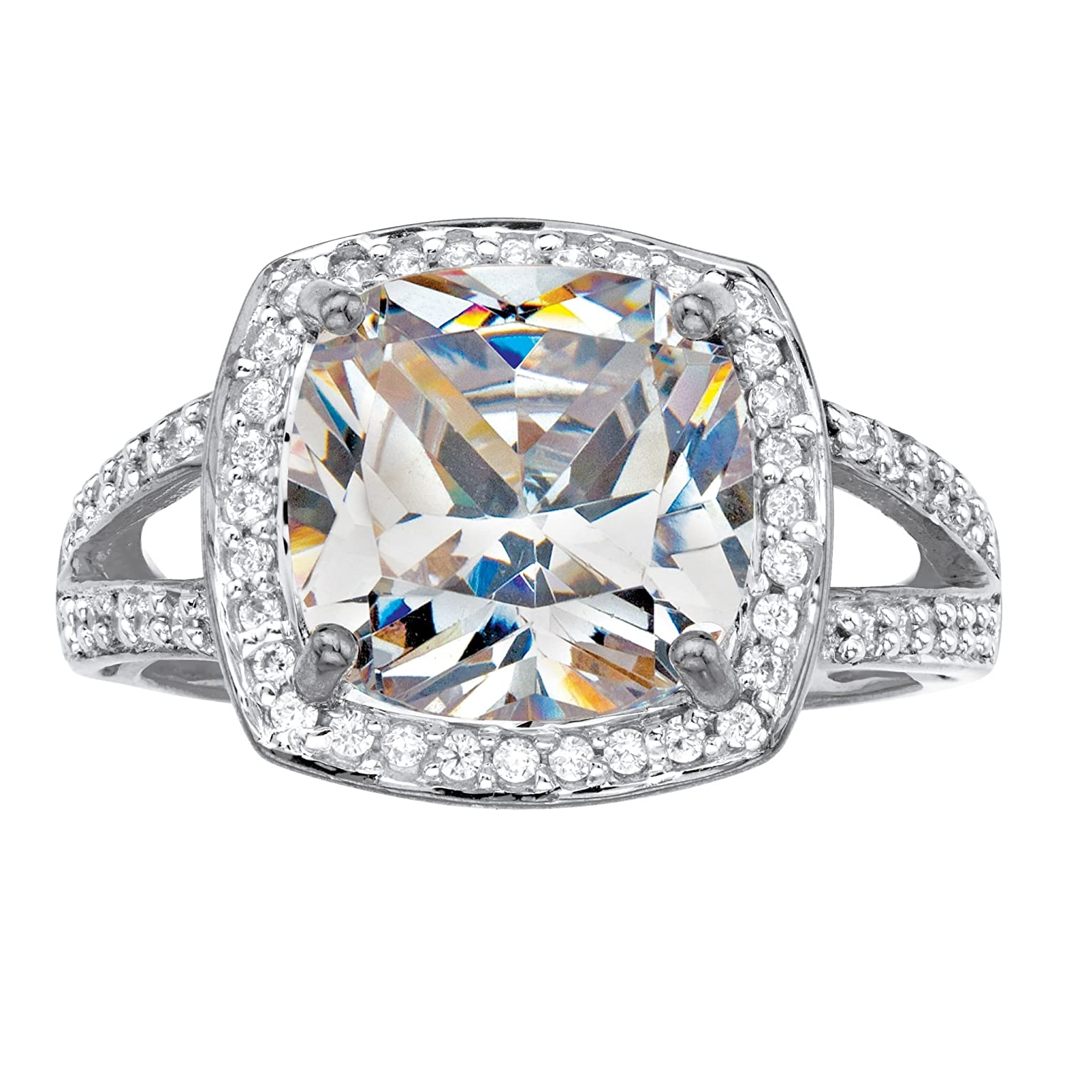 Solid 10k White Gold Cushion Cut White Cubic Zirconia Halo Engagement Ring