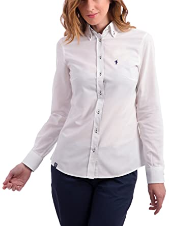 POLO CLUB Camisa Mujer Miss Rigby SS Oxford Shirt Blanco M: Amazon ...