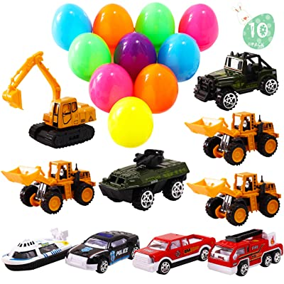 AuLinx 10 Pack Diecast Military Police Construction Fire Fighter Toy Vehicles Cars Prefilled in 4 inch Jumbo Easter Eggs Collectible Party Favors Decoration Classroom Games Prizes Carnivals School Supplies Gifts Egg Hunting T