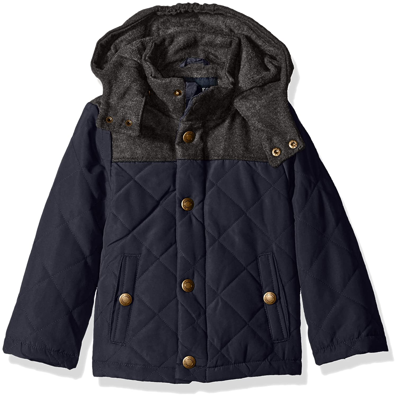 London Fog Boys Barn Jacket With Faux Wool Hood And Yolk 216364