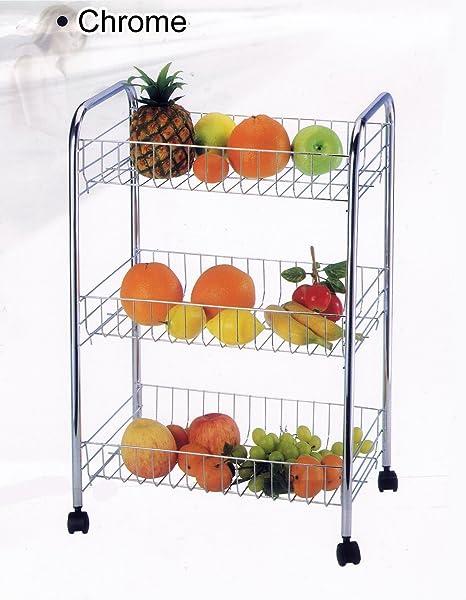 3 frutas estante para verduras plateado soporte con ruedas para carrito de golf para carrito de
