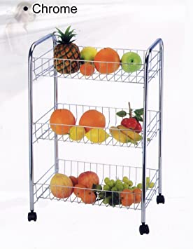 3 frutas estante para verduras plateado soporte con ruedas para carrito de golf para carrito de cocina (cromado): Amazon.es: Hogar