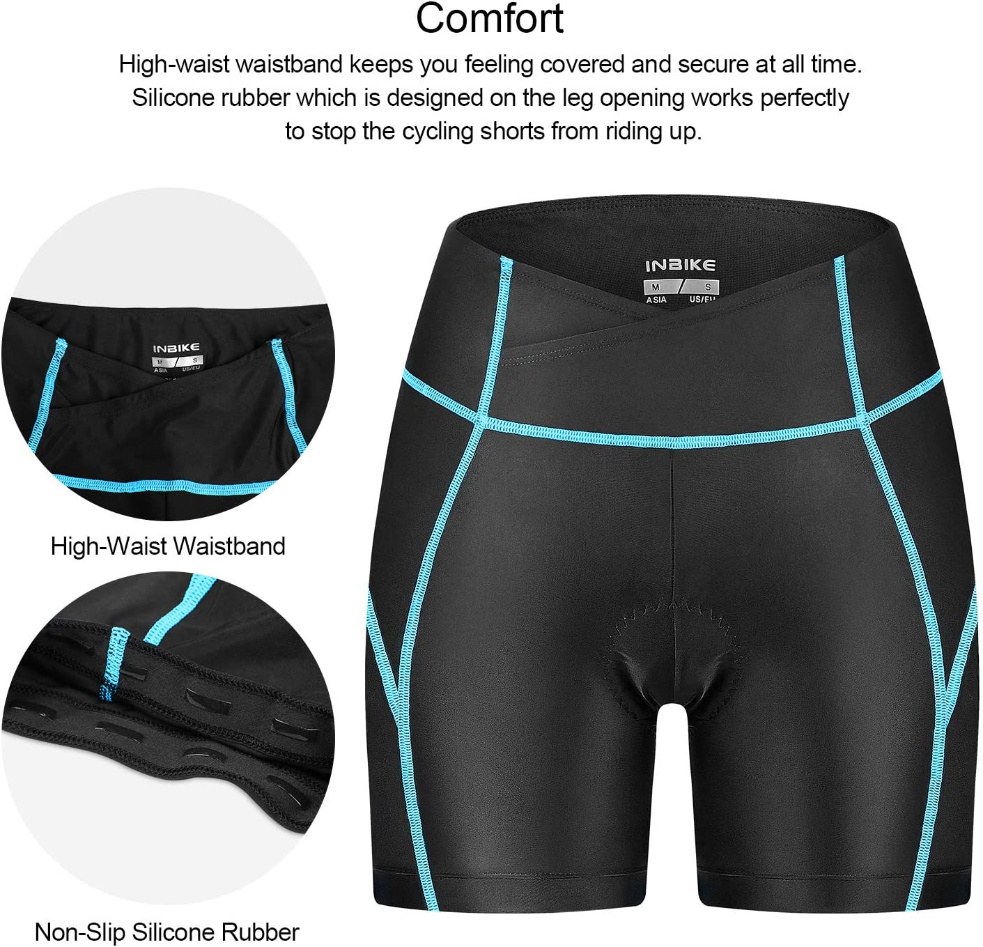 INBIKE Bike Shorts for Women 3D Padded Fast Dry Breathable Compression Tights High Waisted Bicyle Half Pants for Cycling