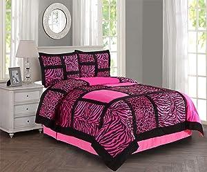 Empire Home 4 Piece Safari Comforter Set (Pink, Queen)