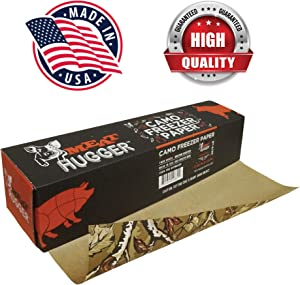 Camouflage Freezer Paper Dispenser Box (17.25 Inch x 175 Feet Roll) - Poly Coated Moisture Resistant Wrap with Matte Side for Freezing Meats, Protects Against Freezer Burn