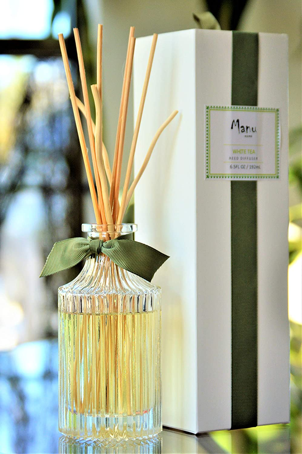 Manu Home White Tea Reed Diffuser Set - 6.5 oz Natural Reed Diffuser Sticks | Aromatherapy Oils | Subtle Notes of Woody Cedar and Vanilla | Made in USA