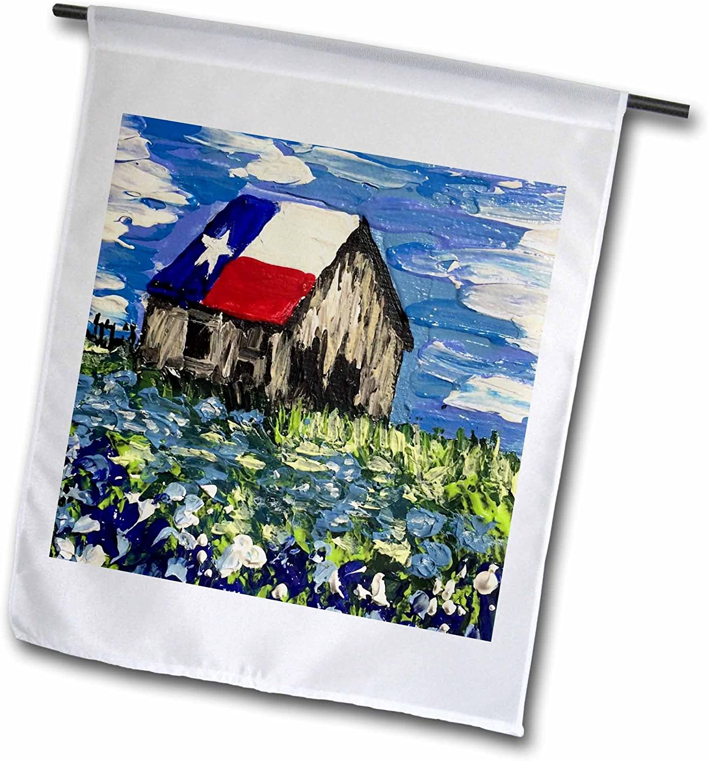 3dRose MelissaA.TorresArtTexas - Image of Painting of Old Texas barn with Bluebonnets - 12 x 18 inch Garden Flag (fl_223363_1)