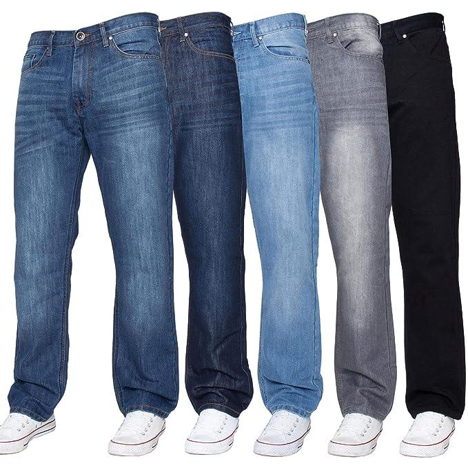 Enzo Mens Jeans Straight Leg Regular Fit Denim Trousers Pants All Waist Sizes