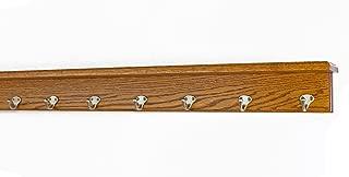 "product image for PegandRail Oak Shelf Coat Rack with Satin Nickel Single Style Hooks (Chestnut, 42"" with 8 Hooks)"