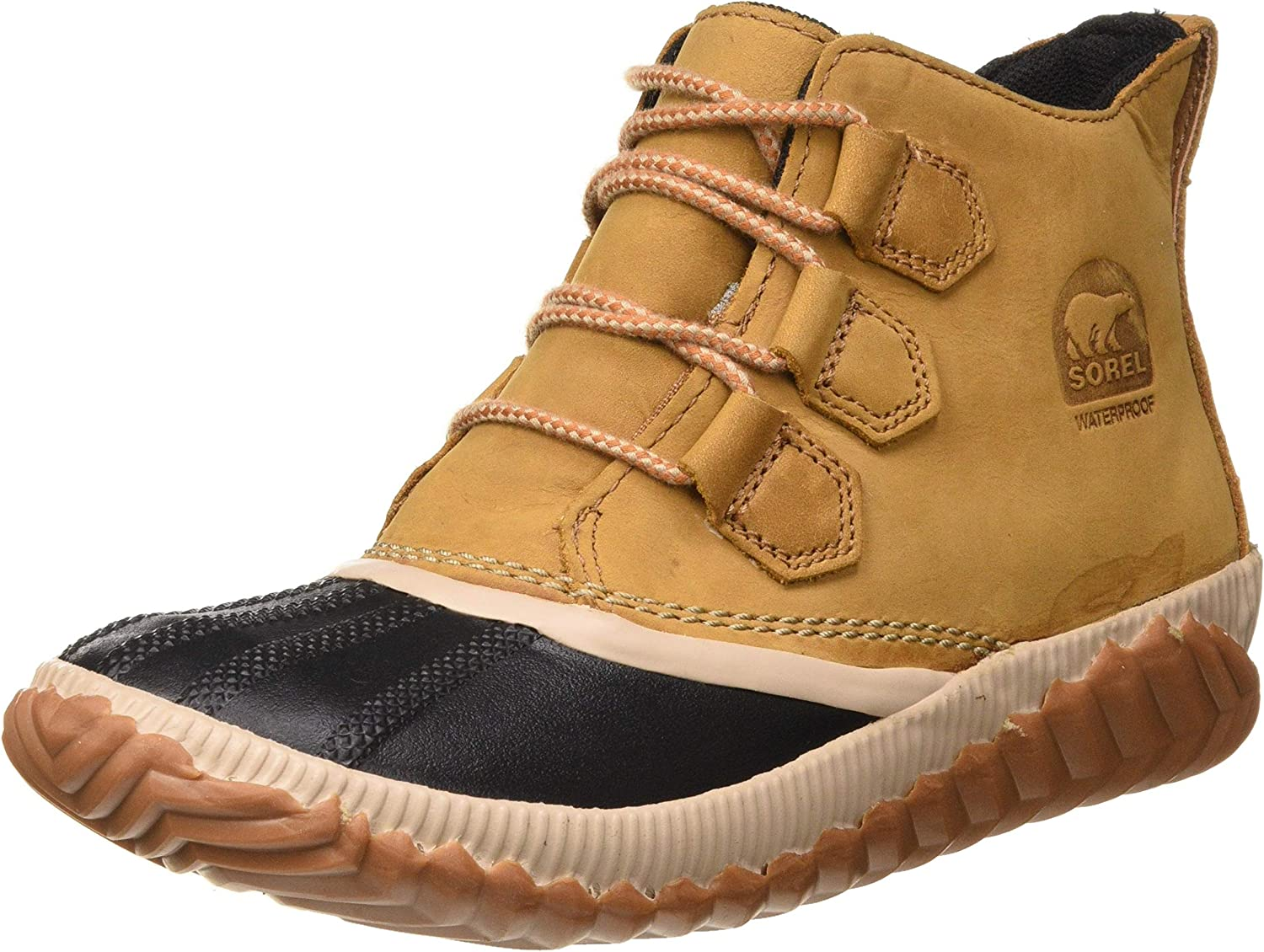 Sorel - Women's Out 'N About Plus, Waterproof Leather and Suede Duck Boot, Tonic Melon