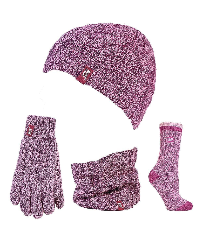 Heat Holders- Set composto da guanti invernali e termici in pile a maglia, berretto, scaldacollo e calzini a spirale, da donna, taglia S/M HHWS&S
