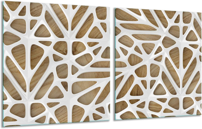 Color Beige dise/ño Abstracto Placas de inducci/ón. decorwelt Placa para Cubrir la vitrocer/ámica 2 x 40 x 52 2 Piezas