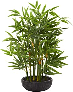 """Nearly Natural 20"""" Bamboo Artificial Silk Plants, Green"""