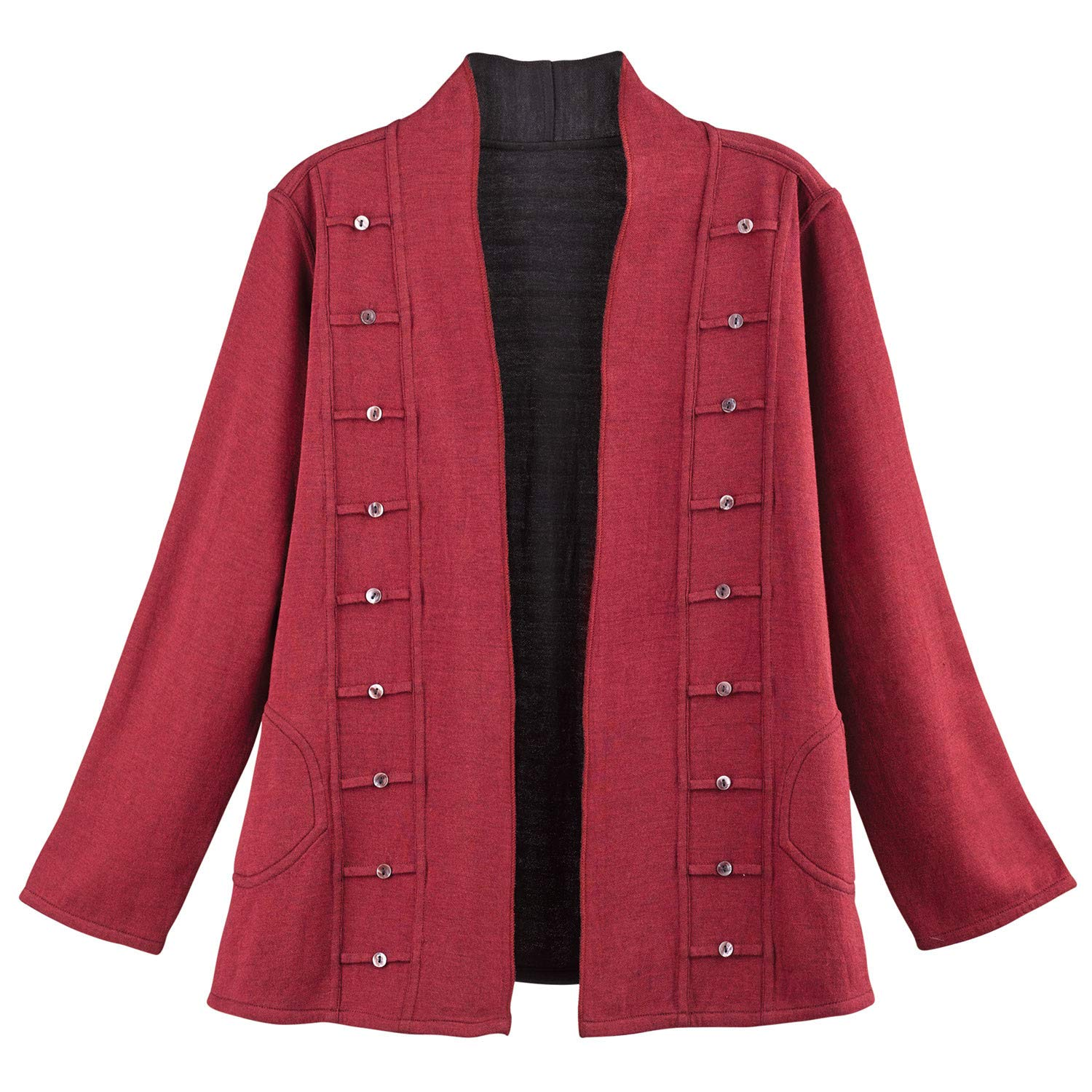 Parsley & Sage Women's Reversible Open-Front Jacket - Military-Style Coat