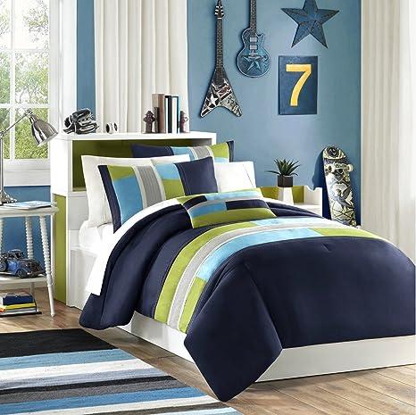 Navy, Teal, Light Green Boys Queen Reversible Comforter and Shams Set Plus  BONUS PILLOW (4 PC Set)