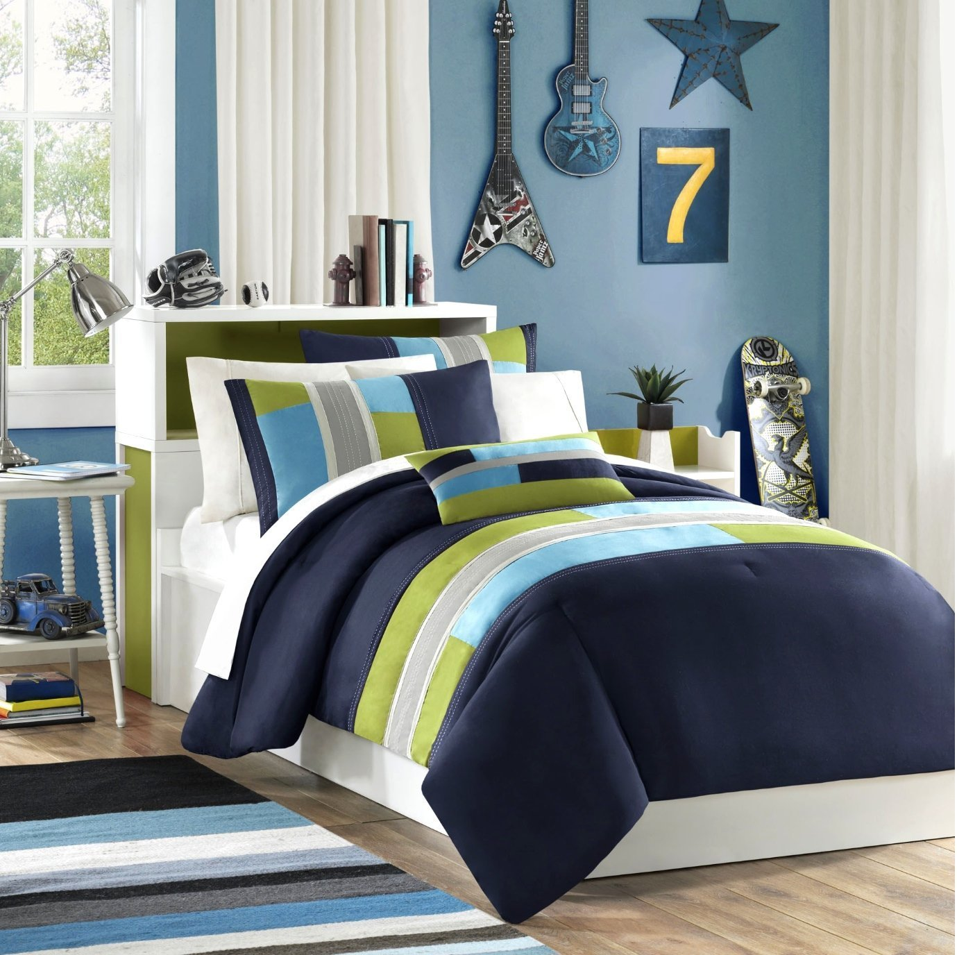 Navy, Teal, Light Green Boys Twin Comforter and Sham Set Plus