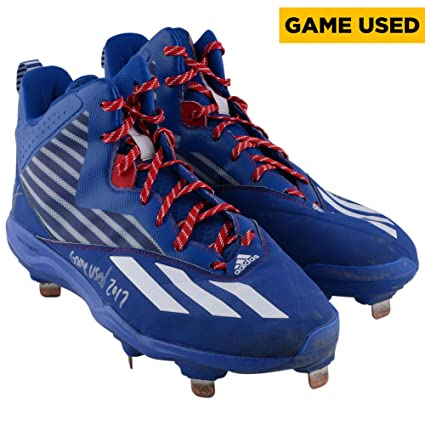Kris Bryant Chicago Cubs Autographed Game-Used Blue with White Stripe Cleats  from the 2017 6090874be