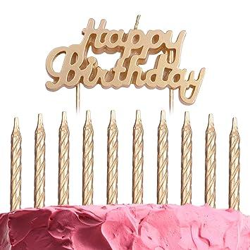 Amazon.com: Set de 10 velas de cumpleaños y decoración para ...