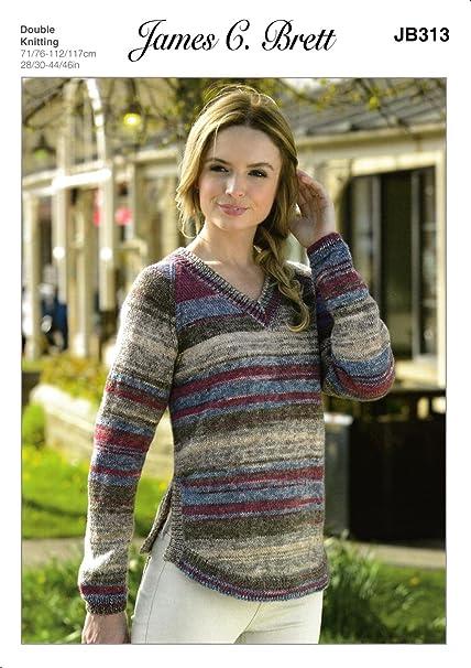 James C Brett Jb313 Knitting Pattern Ladies V Neck Sweater In
