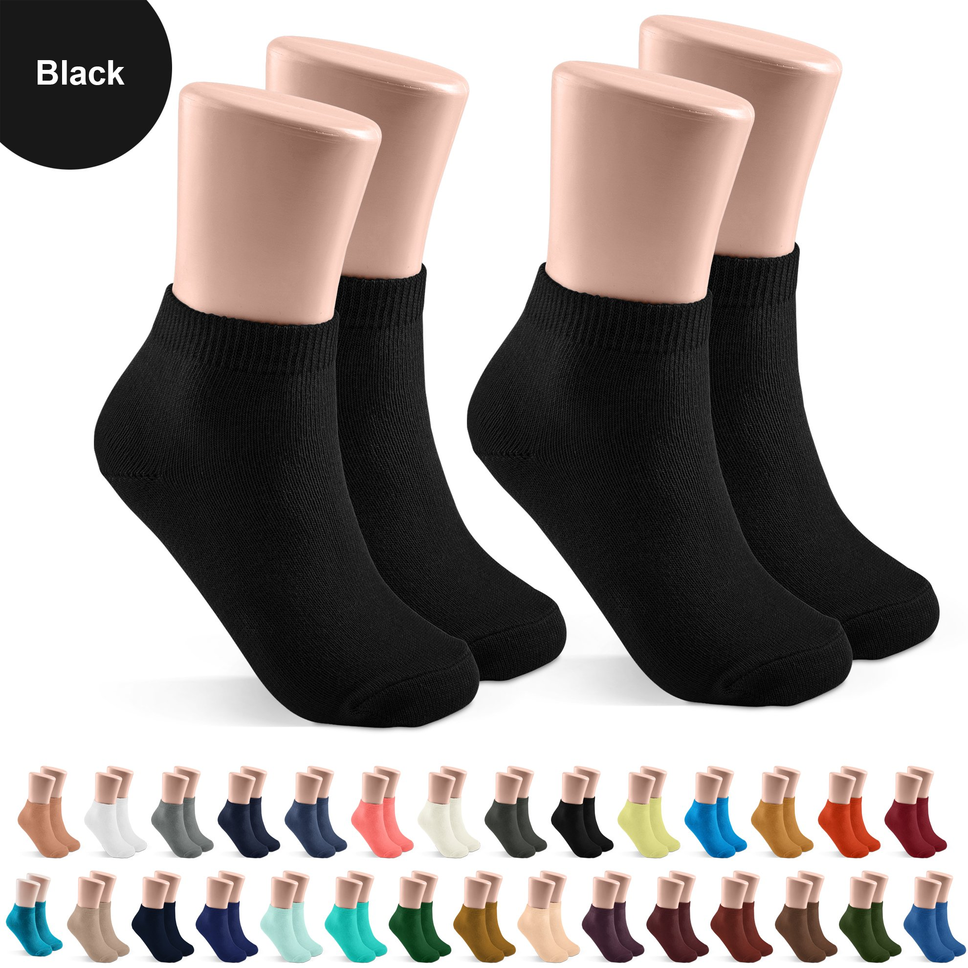 JRP 2 Pack Soft Cotton Crew Socks for Babies, Toddlers, Boys and Girls - Black - Size 7-8