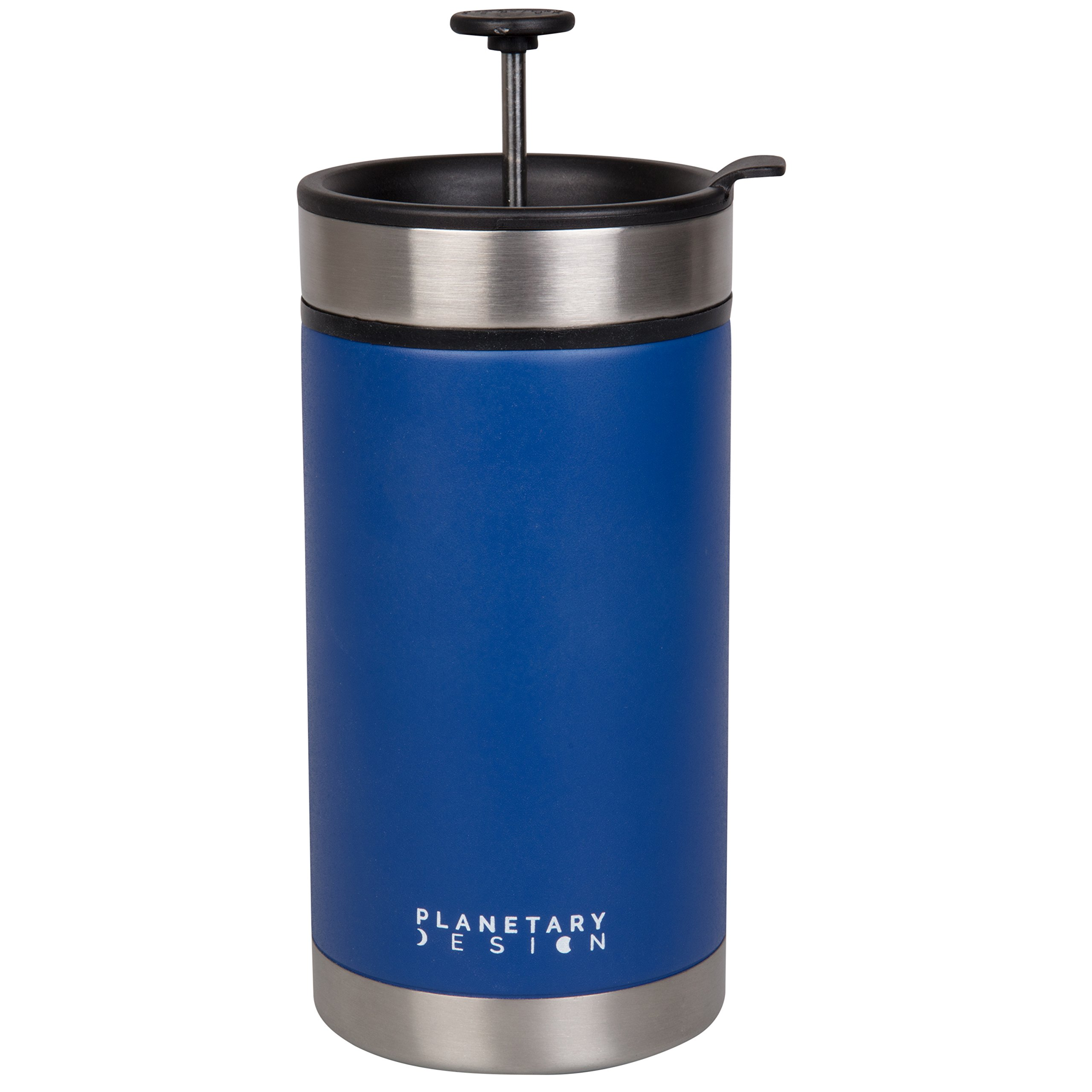 Steel Toe French Press Coffee Travel Mug with Brü-Stop Technology - 20 oz - Stainless Steel with Non-Slip Texture - Mountain Lake Blue by Planetary Design